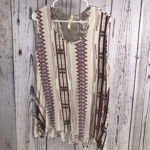 Southwestern style sleeveless top with crochet